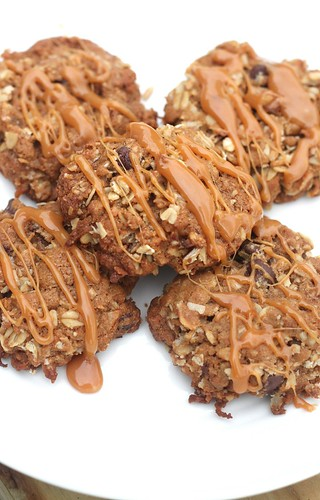 Coconut Oatmeal Cookies with Caramel Drizzle | by niftyfoodie