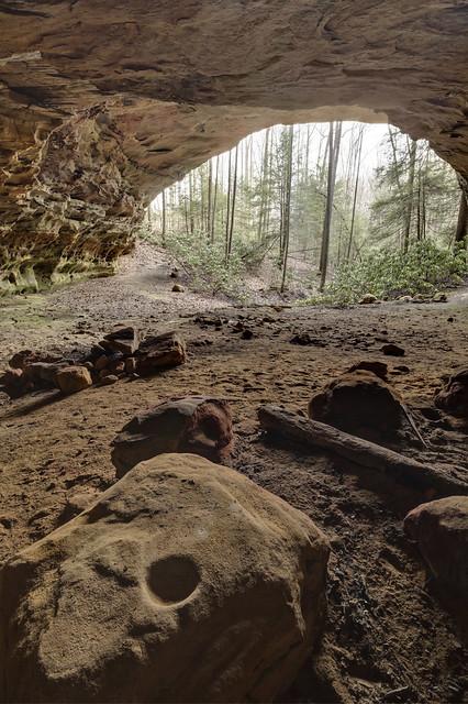 Bedrock mortar hole, rock shelter, Big South Fork NRRA, Fentress County, Tennessee