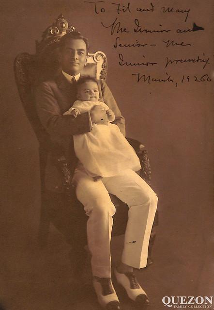 Manuel L. Quezon with his son, Manuel L. Quezon Jr., 1926