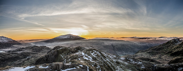Sunrise Panoramic Snowdon Snowdonia Wales 03/2016
