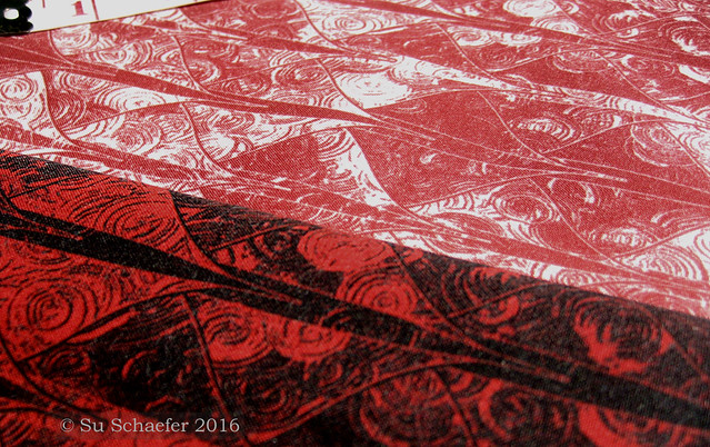 'Blood on the Dragon' + 'A Blood Red Wash': close up of print on basic cotton