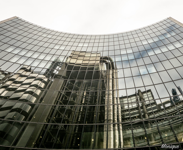 Reflection of the inside out building. Lloyds. London.