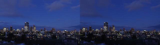 Central of Sendai at twilight, 4K UHD, stereo cross view