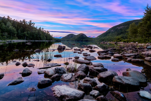 sunset lake reflection landscape pond nikon rocks maine hills boulders d750 serene acadia mountdesert barharbor jordanpond acadianationalpark thebubbles insiteimage