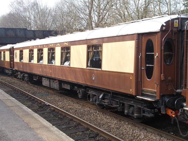 Belmond British Pullman car 'Audrey' leaving Shalford