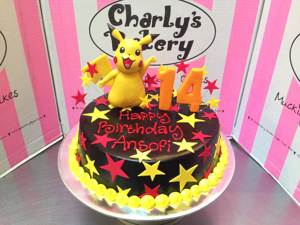 Pleasing Pikachu Themed 14Th Birthday Cake With 3D Figurine On Top Flickr Funny Birthday Cards Online Overcheapnameinfo