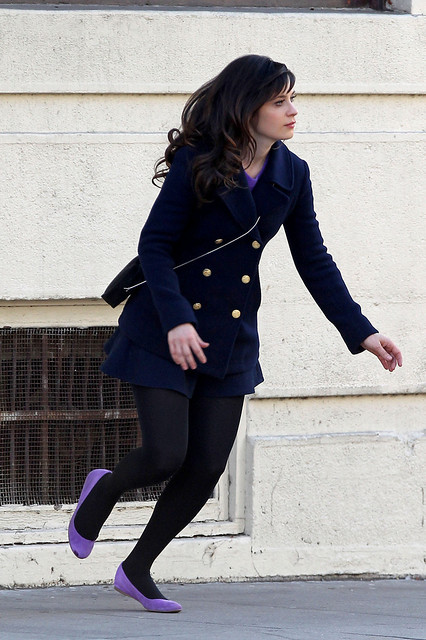 sweet Zooey Deschanel in beautiful jacket