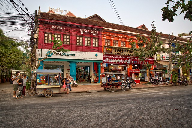 Evening near the city centre of Siem Reap in Cambodia