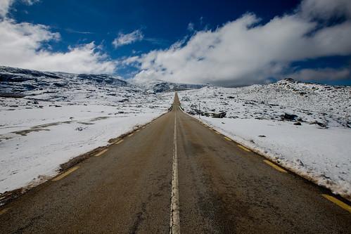 road sky snow clouds serradaestrela
