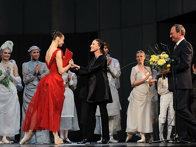 Receiving the Prize from  Maya Plisetskaya