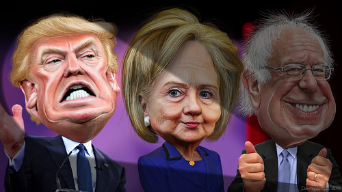 MSM spotlights Donald Trump vs. Hillary Clinton and Bernie Sanders | by DonkeyHotey