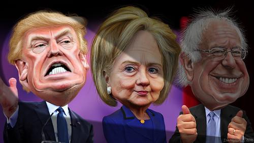 MSM spotlights Donald Trump vs. Hillary Clinton and Bernie Sanders   by DonkeyHotey