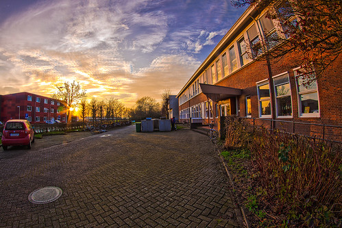 sunset sky sun holland netherlands architecture sunrise canon europe wageningen nl collegue univesity wur
