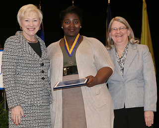Tue, 04/05/2016 - 14:55 - Photo of the student SUNY Chancellors awardee,  Jessica Rush, standing with SUNY Chancellor Nancy Zimpher and GCC Vice President for Enrollment Management and Student Services Virginia Taylor