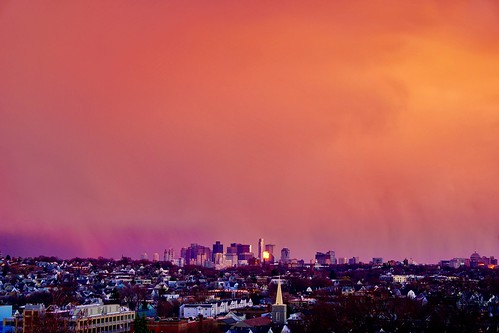 light sunset weather boston skyline golden massachusetts newengland tufts pw tischlibraryroof