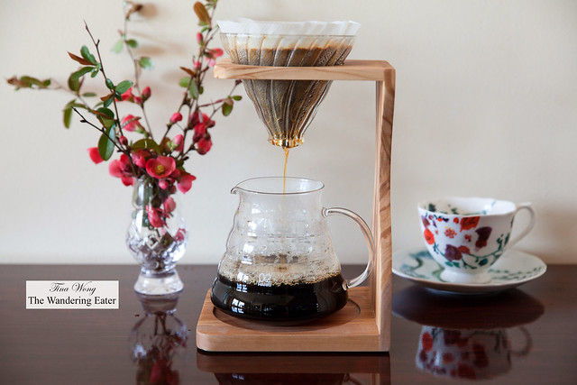 Hario Olive Wood Coffee Dripper Stand V60 Pour Over