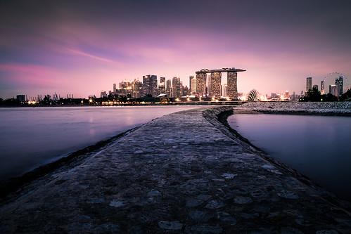 wheel skyline twilight singapore cityscape dusk mbs