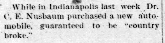 1904 - Doc Nusbaum different car - Enquirer - 19 May 1904