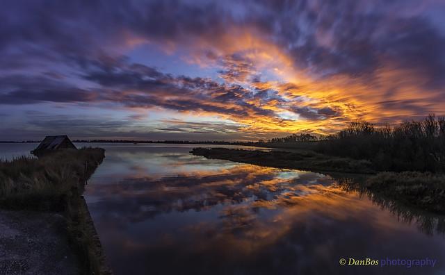Sunrise in the Comacchio lagoon