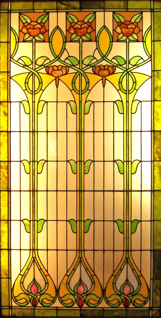 Floral Stained Glass Art Nouveau Stained Glass Window
