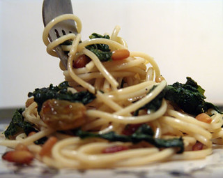 Spaghetti with Bitter Greens, Pine Nuts and Golden Raisins 1
