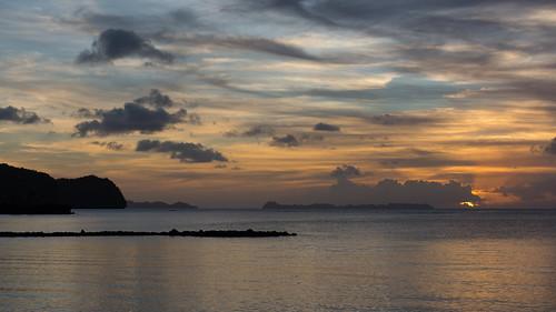 ocean sunset sea water night landscape scenery paradise cloudy palau pw oceania koror rockislands meyungs