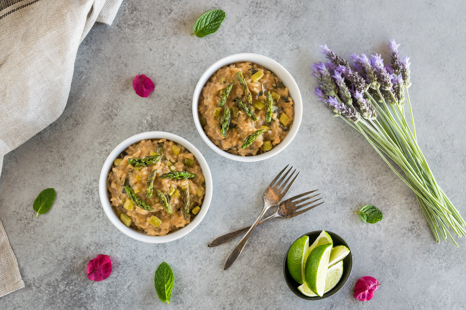 asparagus risotto with lemongrass and thai basil
