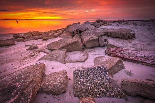 park sunset river concrete sand rocks state fort pavement bricks cement mortar blocks campground hdr clinch riprap