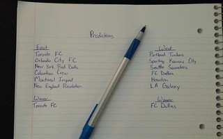 Zach's predictions for who will make it to the MLS playoffs in 2016.  And the cheap pen he wrote them with. | by colonel4God