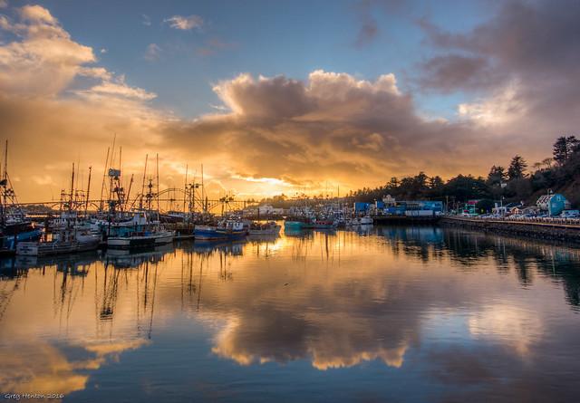Sunset over Newport, Oregon's Harbor