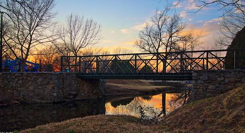 park bridge trees sunset usa oklahoma stream hdr