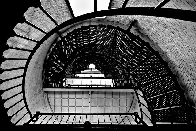 Looking up from the interior base of the St Augustine Lighthouse, 81 Lighthouse Avenue, St Augustine, Florida. U.S.A. / Completed: 1874