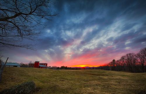 trees sunset sky lake barn day cloudy farm newengland newhampshire nh robertallanclifford robertallancliffordcom