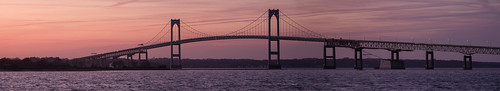 sunset panorama water evening fuji pano newengland newport goldenhour newportri newportbridge narragansettbay xt1 claibornepellbridge