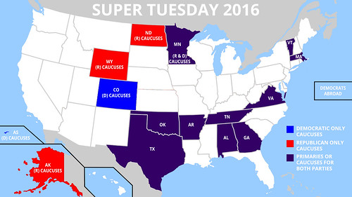 Map of Super Tuesday States 2016 | by DonkeyHotey