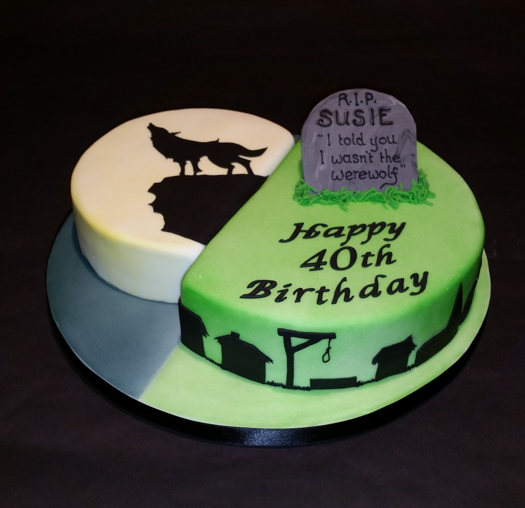 Swell Werewolf 40Th Birthday Cake Birthday Cake For A Friend Who Flickr Personalised Birthday Cards Veneteletsinfo