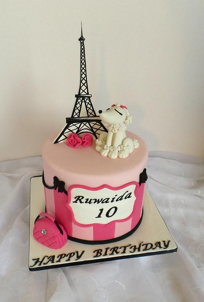 Swell Paris Themed Birthday Cake With Fondant Poodle Handbag An Flickr Funny Birthday Cards Online Fluifree Goldxyz
