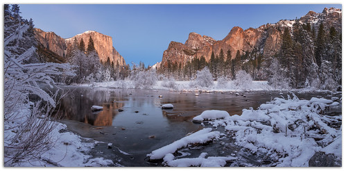 gatesofthevalley capitan cathedralrock reflection mercedriver winter snow ice crystals mariposa california yosemitenationalpark