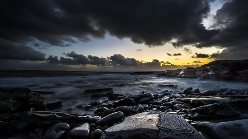photo landscape fullframe ireland water clouds sunset sonya7 sonyfe1635 orange a7 longexposure light sea ultrawide sony travel motion blu sky seascape rocks europe geotagged photography clare ie onsale portfolio