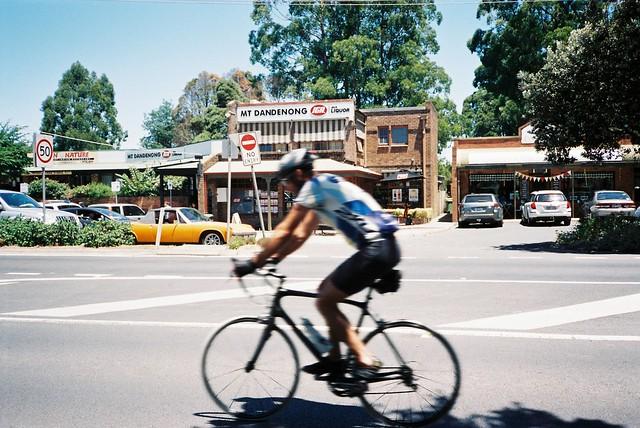 Blurry bicyclist