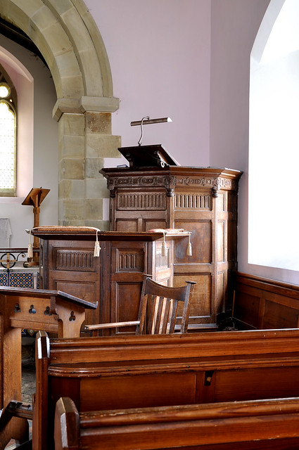 Billingsley, Shropshire, pulpit with attached lectern