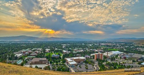 school autumn sunset panorama fall clouds campus evening montana view stitch scenic september missoula rays smoky hazy crepuscular universityofmontana mtrail 2013 pentaxk5 samyang14mmf28