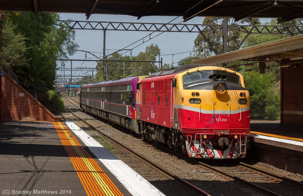 A66 hauled 3VL48 with 8592 up empty V/line V'locity pass transfer from Bombardier Dandenong to Southern Cross at Toorak (10/2/2016) by Bradley Matthews