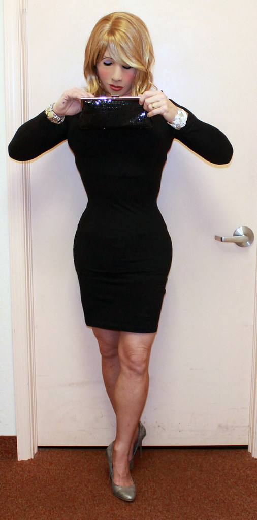 LBD and silver heels