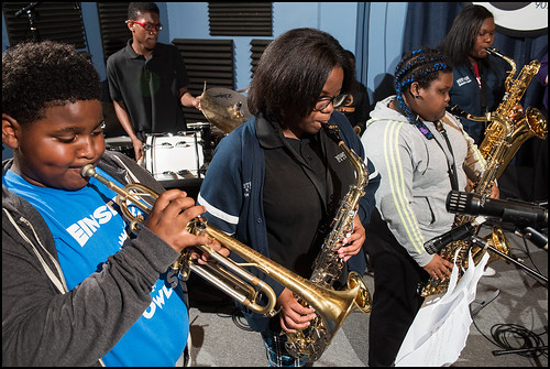 Einstein Charter Middle School Jazz Band at WWOZ for Cuttin' Class on March 31, 2016. Photo by Ryan Hodgson-Rigsbee www.rhrphoto.com