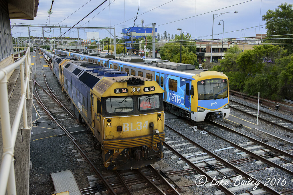 BL34-BL29 is seen stabled in 4rd at Frankston while a Siemens arrives into platform 2 due to a fire that damaged the Stony Point line by Luke's Rail Gallery
