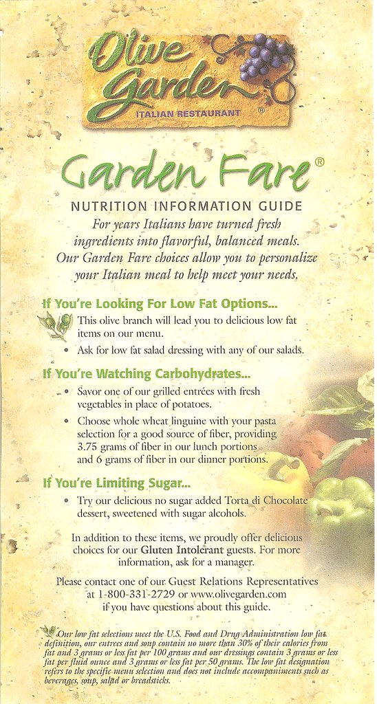 Olive Garden Nutrition Pamphlet Front Thelifeledger Flickr