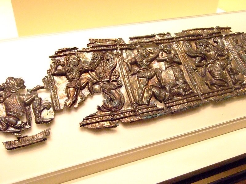 Relief with Mthological Scenes Greek made in South Italy 540-530 BCE Silver and gold (2)