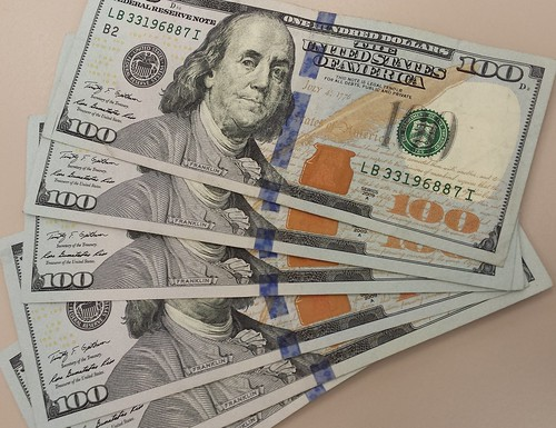 Money, 6 Benjamin Franklin $100 notes, $600. marked with blue dye, The United States of America   by Wonderlane