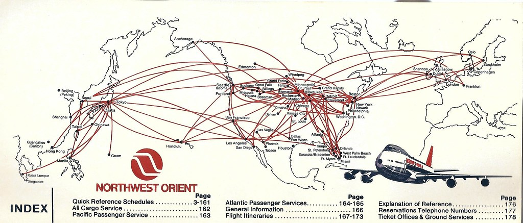 Northwest Orient map, March 1986 | A Northwest Orient route ... on northwest cargo, northwest area map, northwest weather map, northwest parkway map, northwest boulevard map,